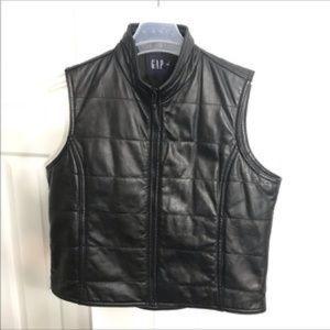 Vintage GAP 100% Quilted Leather Vest: Medium